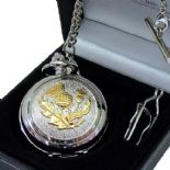 Scottish Thistle Skeleton Mechanical Pocket Watch, PERSONALISED ref PWSCOTSK